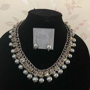 Talbots Pearl and Rhinestone Ribbon Necklace